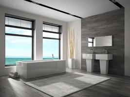 Interior of a bathroom with a sea view in 3D rendering