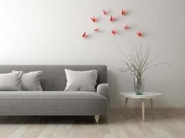 Part of a modern interior room design in 3D rendering