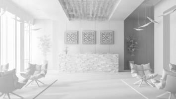 Interior blanco de una zona de recepción de hotel y spa en la ilustración 3d foto