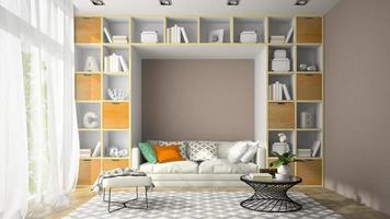 Interior de una sala de diseño moderno con paredes de estantes en 3D rendering foto