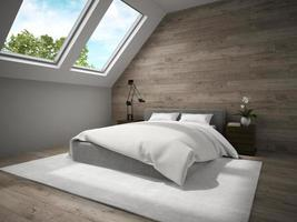 Interior of a mansard bedroom with wooden walls in 3D rendering