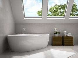 Interior de un moderno dormitorio y baño con armarios de madera en 3D rendering
