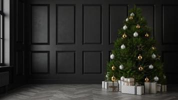 Interior de la moderna sala de estar con un árbol de Navidad en 3D rendering foto