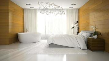 Interior of a modern design bedroom with a bathtub in 3D rendering