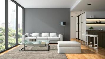 Interior de un loft de diseño moderno con una lámpara negra en 3D rendering foto