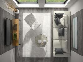 Vista superior de un interior de una moderna sala de estar en 3D. foto