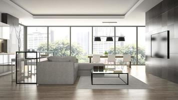 Interior de un loft de diseño moderno con paredes negras en 3D rendering foto