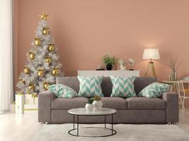 Interior of modern living room with a Christmas tree in 3D rendering photo
