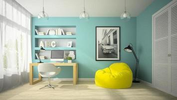 Interior of a modern design room with a yellow beanbag chair in 3D rendering photo