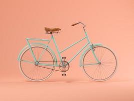 Bicicleta azul sobre un fondo rosa en la ilustración 3d foto