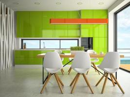 Diseño interior moderno de una cocina en 3D.