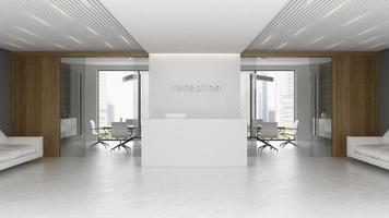 Interior de una sala de reuniones y recepción en 3d ilustración