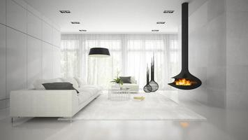 Interior of a modern design white room with a fireplace in 3D rendering