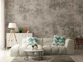 Interior de una moderna sala de estar con sofá y muebles en 3D. foto