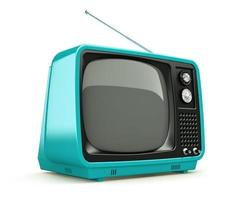 Blue retro TV isolated on a white background photo