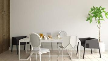 Interior of a modern dining room in 3D rendering