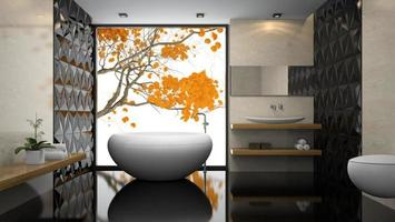 Interior of a stylish bathroom with black floors in 3D rendering