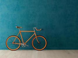 Bicicleta naranja sobre un fondo azul en la ilustración 3d foto