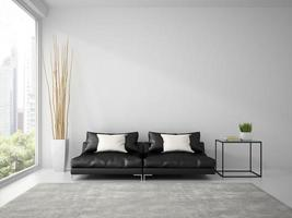 Part of an interior with a black sofa and white pillows in 3D rendering photo