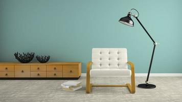 Part of an interior with a black lamp and white armchair in 3D rendering