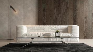 Interior of a modern room with a sofa in 3D rendering