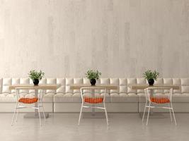 Diseño de interiores de una cafetería o cafetería en 3D. foto