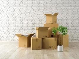 Interior room with packed cardboard boxes for relocation in 3D rendering