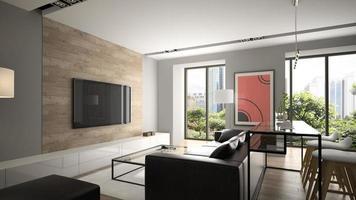 Modern interior design in 3D rendering photo