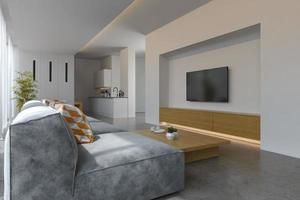 Interior of a modern living room with a sofa and furniture in 3D rendering photo