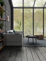 Loft style interior design in 3D rendering photo