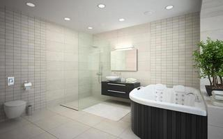 Interior of a modern bathroom with a jacuzzi in 3D rendering photo
