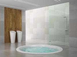 Modern interior of a bathroom in 3D rendering photo