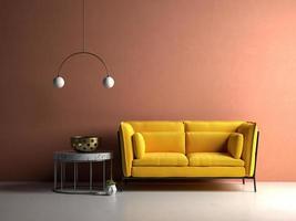 Conceptual interior room in 3D illustration