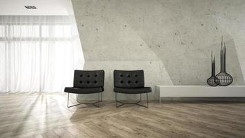 Part of a stylish interior with two armchairs in 3D rendering