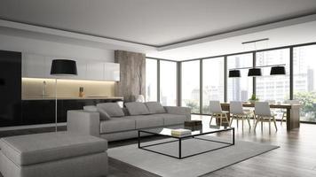 Interior de un loft de diseño moderno en 3D. foto