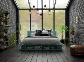 Bedroom interior design in 3D rendering
