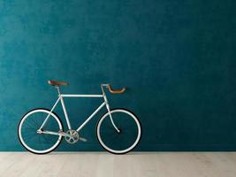 White bicycle on a blue background in 3D illustration photo