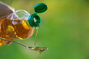 Hand pouring vegetable oil from bottle to spoon photo