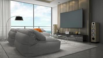 sala de diseño moderno interior en representación 3d foto