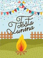 festa junina with fence and campfire vector
