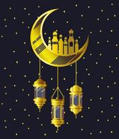 golden moon with mosque buildings and lamps hanging vector