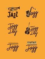 jazz day lettering set vector