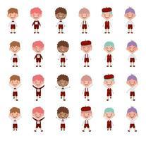 grupo de personajes de niños de la escuela joven vector