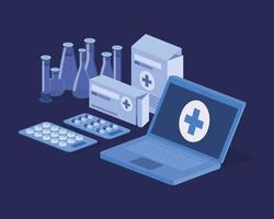 laptop telemedicine service with test tubes vector