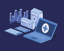Servicio de telemedicina portátil con tubos de ensayo. vector