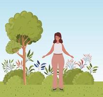 young woman outdoors vector