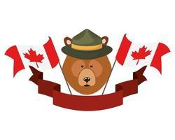 Bear animal for Canada Day celebration vector