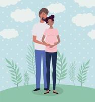 pareja interracial esperando un bebé vector