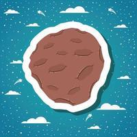Pegatina de asteroide con ilustración de vector de diseño de nubes