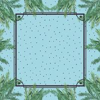 square frame with herbal background vector